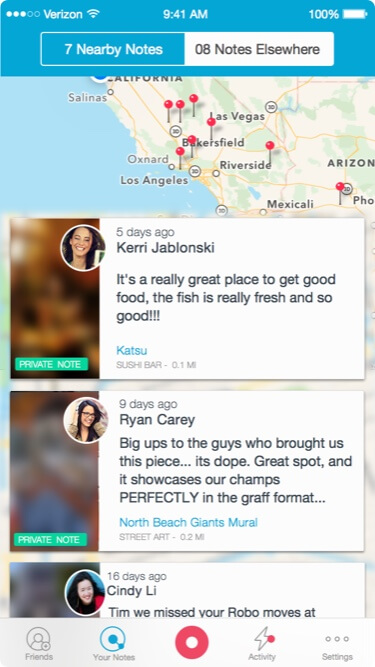 socialgeoapp location page