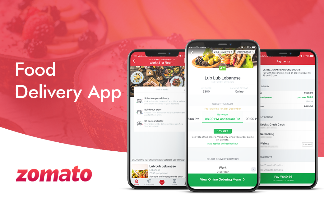 food delivery application - zomato